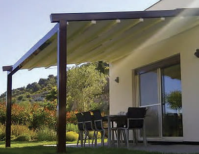 Modern pergola with a Retractable Pergola Cover