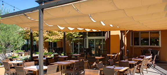 Slide wire canopy at Bella Brew restaurant