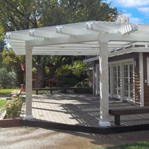 aluminum patio shade on a residential patio