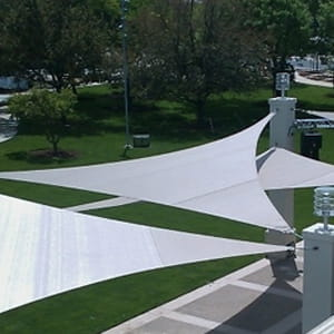 Shade sails shading a hotel patio