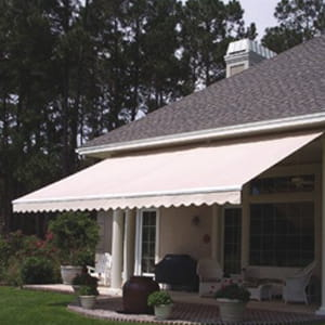 retractable awning covering a residential patio