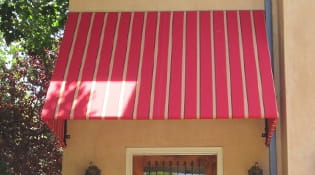 red fabric awning