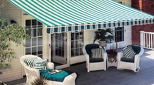 Retractable awning for residential patio.